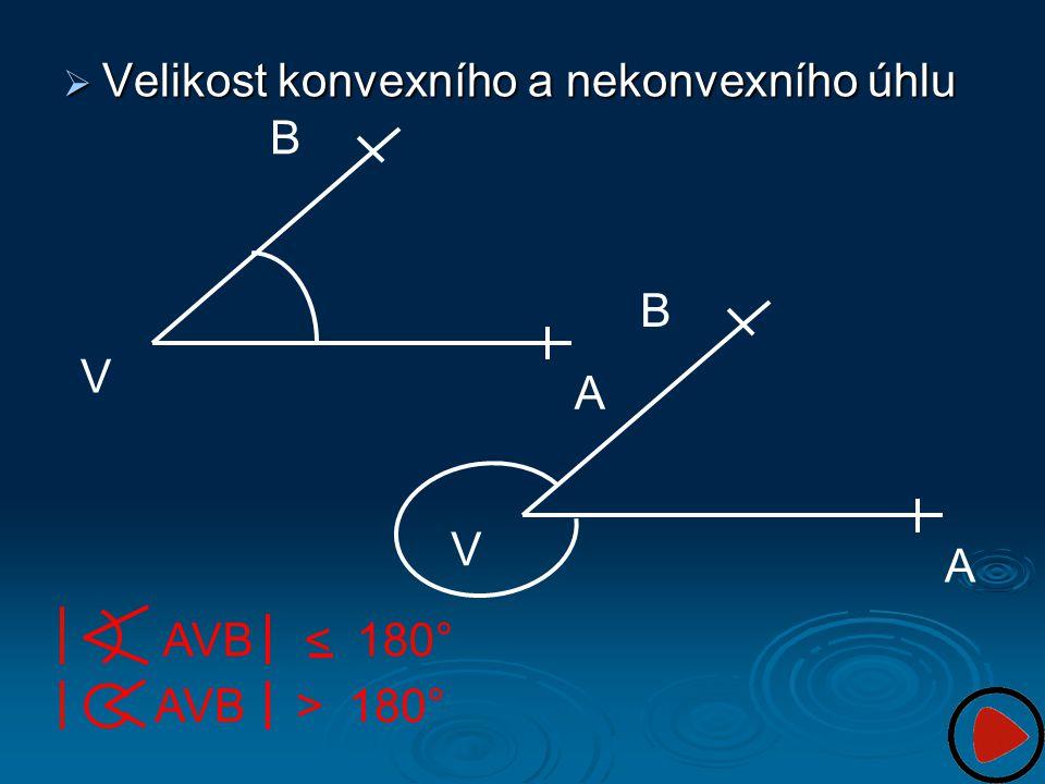 Velikost konvexního a nekonvexního úhlu