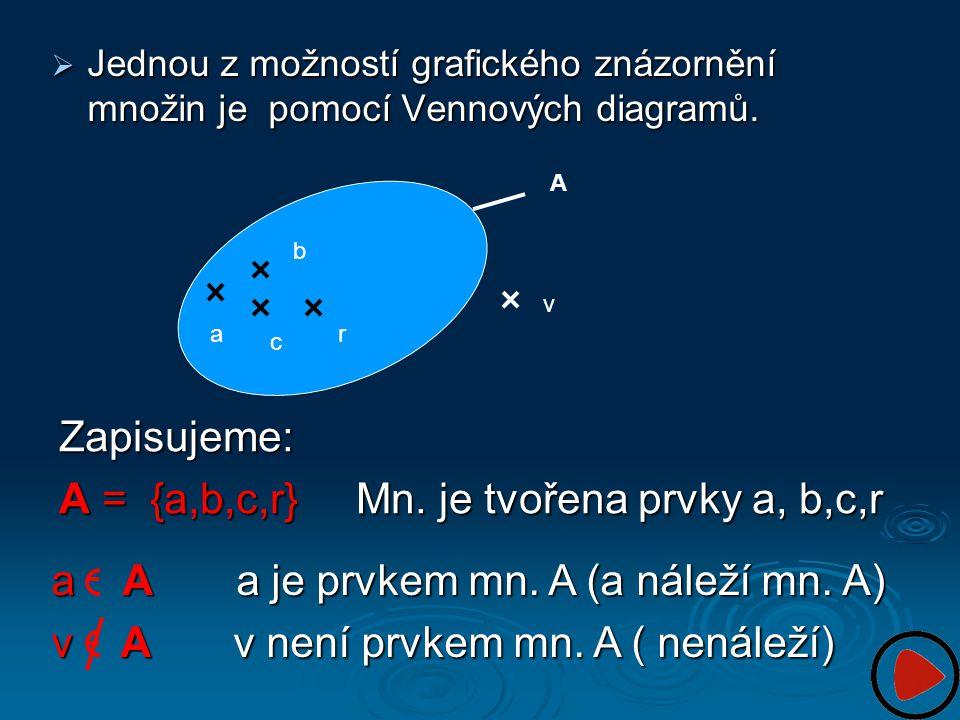 A = {a,b,c,r} Mn. je tvořena prvky a, b,c,r