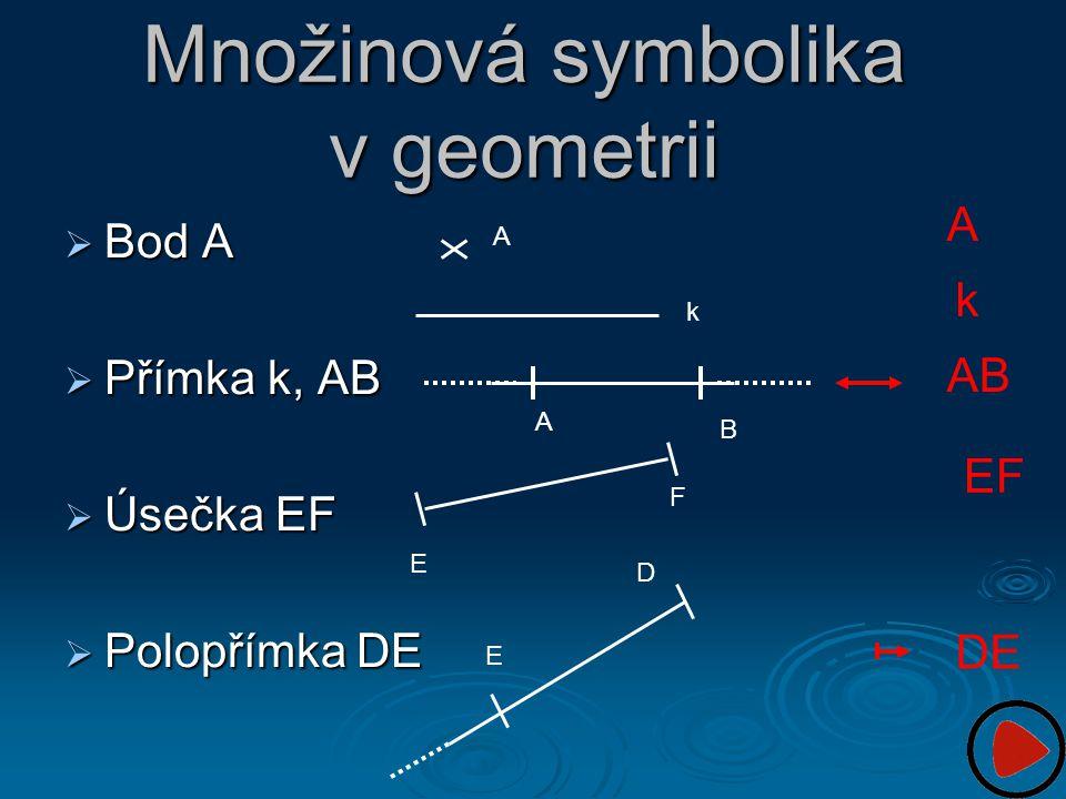 Množinová symbolika v geometrii