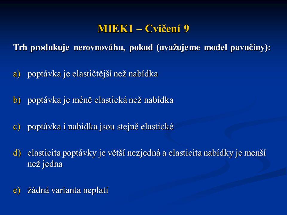 MIEK1 – Cvičení 9 Trh produkuje nerovnováhu, pokud (uvažujeme model pavučiny): poptávka je elastičtější než nabídka.