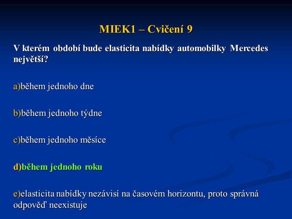 MIEK1 – Cvičení 9 V kterém období bude elasticita nabídky automobilky Mercedes největší během jednoho dne.