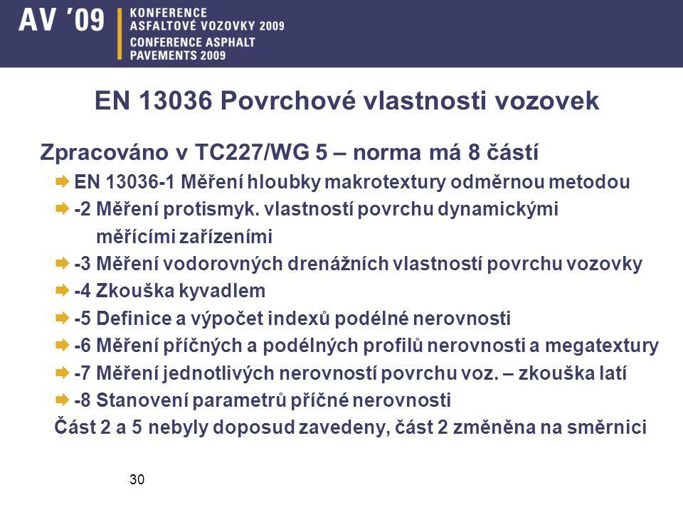 EN 13036 Povrchové vlastnosti vozovek