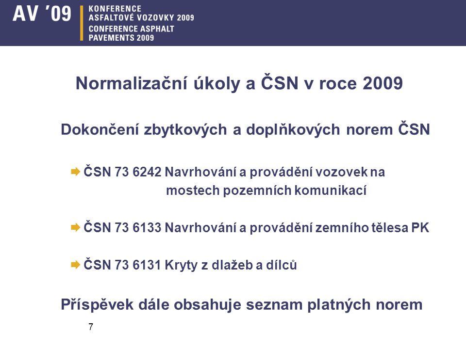 Normalizační úkoly a ČSN v roce 2009