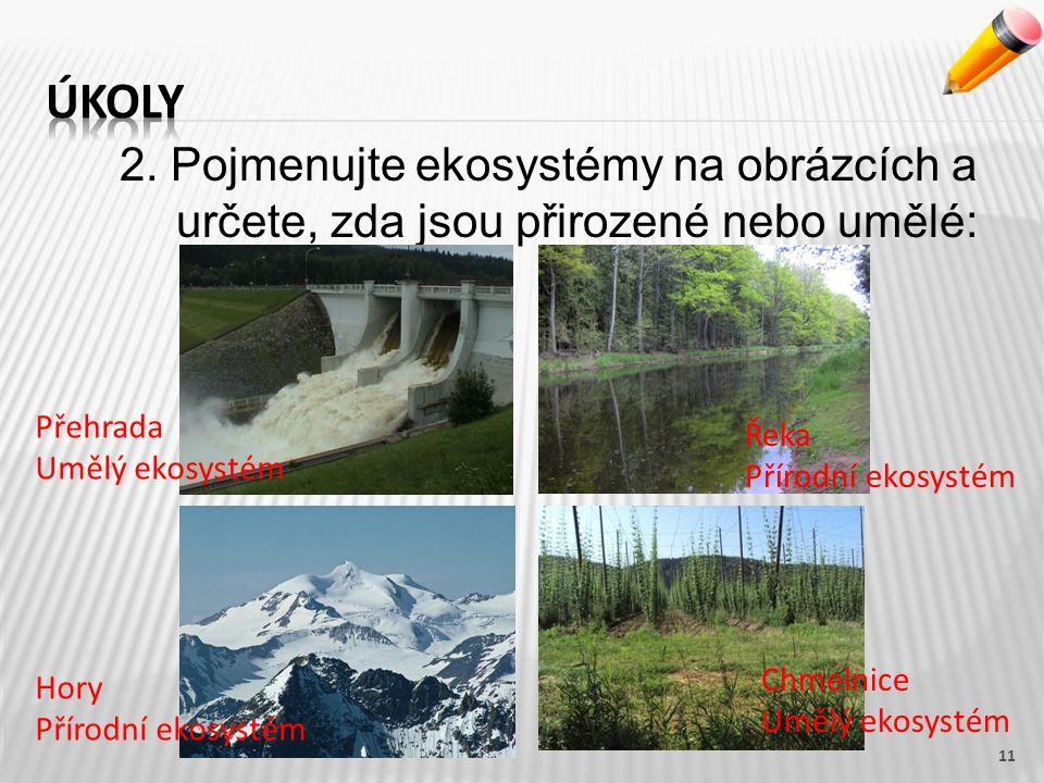 Úkoly 2. Pojmenujte ekosystémy na obrázcích a určete, zda jsou přirozené nebo umělé: Přehrada. Umělý ekosystém.