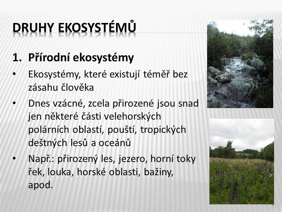 Druhy ekosystémů Přírodní ekosystémy
