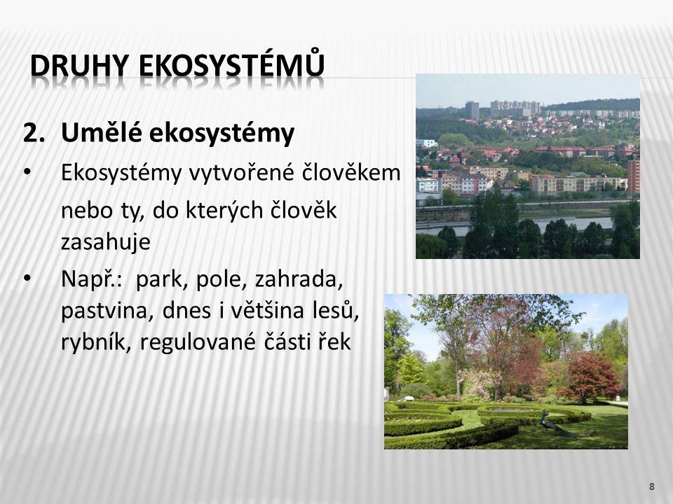 Druhy ekosystémů 2. Umělé ekosystémy Ekosystémy vytvořené člověkem