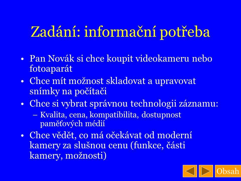Zadání: informační potřeba