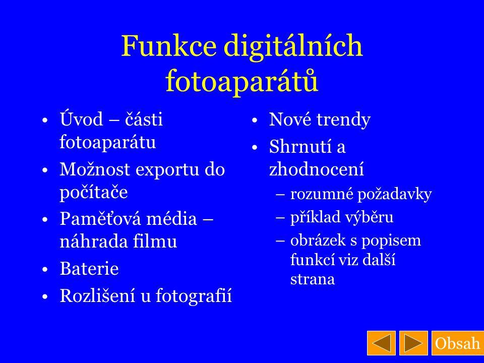 Funkce digitálních fotoaparátů