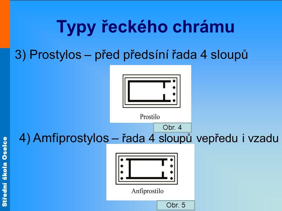 Typy řeckého chrámu 3) Prostylos – před předsíní řada 4 sloupů