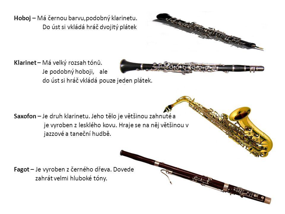 Hoboj – Má černou barvu,podobný klarinetu
