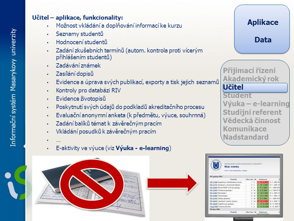 Učitel – aplikace, funkcionality: