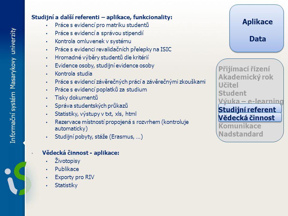 Studijní a další referenti – aplikace, funkcionality: