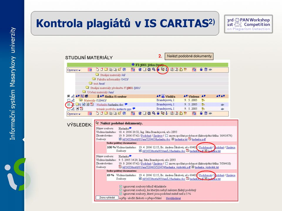 Kontrola plagiátů v IS CARITAS2)