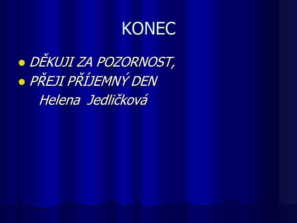 KONEC DĚKUJI ZA POZORNOST, PŘEJI PŘÍJEMNÝ DEN Helena Jedličková