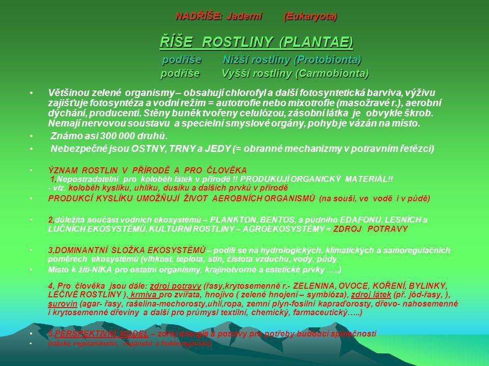 NADŘÍŠE: Jaderní (Eukaryota) ŘÍŠE ROSTLINY (PLANTAE) podříše Nižší rostliny (Protobionta) podříše Vyšší rostliny (Carmobionta)