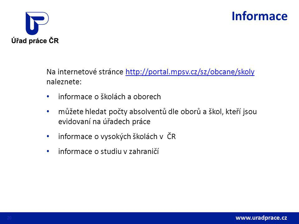 Informace Na internetové stránce http://portal.mpsv.cz/sz/obcane/skoly naleznete: informace o školách a oborech.