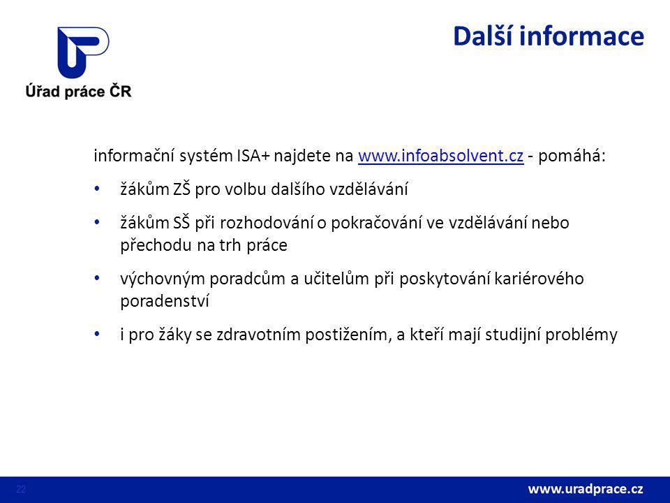 Další informace informační systém ISA+ najdete na www.infoabsolvent.cz - pomáhá: žákům ZŠ pro volbu dalšího vzdělávání.
