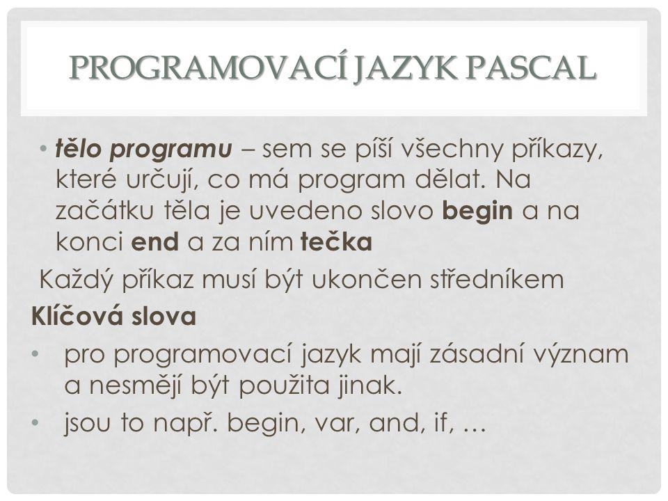 Programovací jazyk Pascal