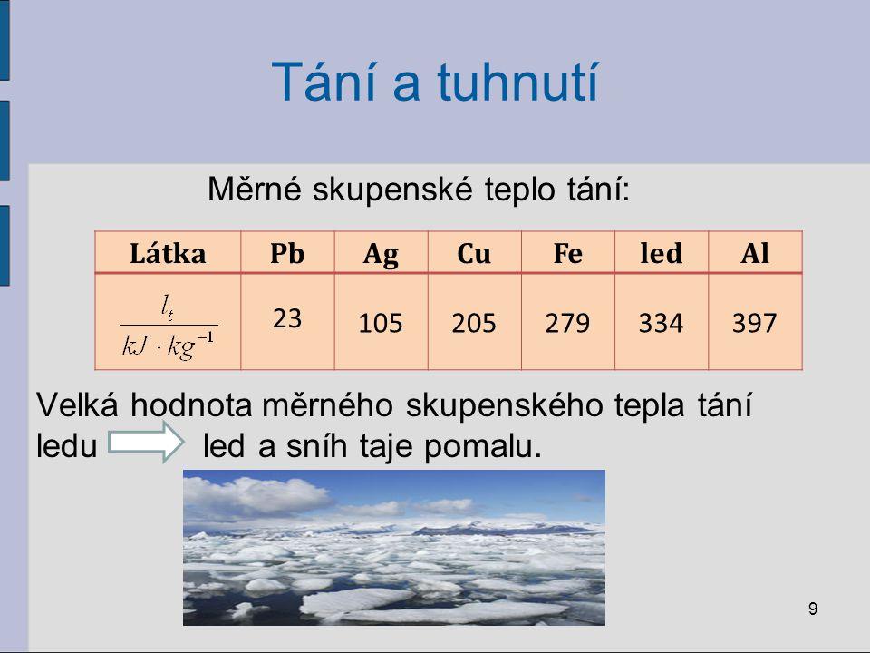 Tání a tuhnutí Měrné skupenské teplo tání: Velká hodnota měrného skupenského tepla tání ledu led a sníh taje pomalu.