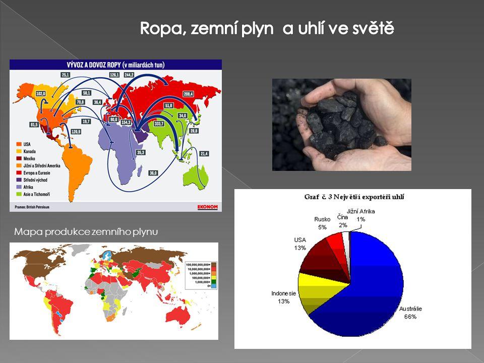 Ropa, zemní plyn a uhlí ve světě