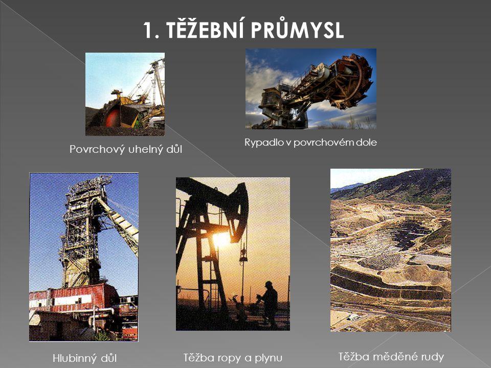 1. TĚŽEBNÍ PRŮMYSL Povrchový uhelný důl Těžba měděné rudy Hlubinný důl