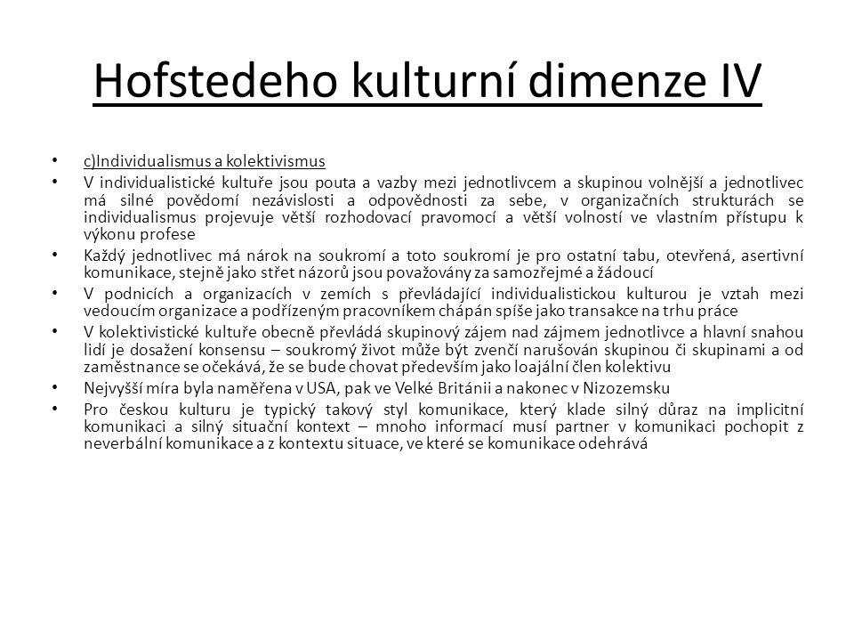 Hofstedeho kulturní dimenze IV