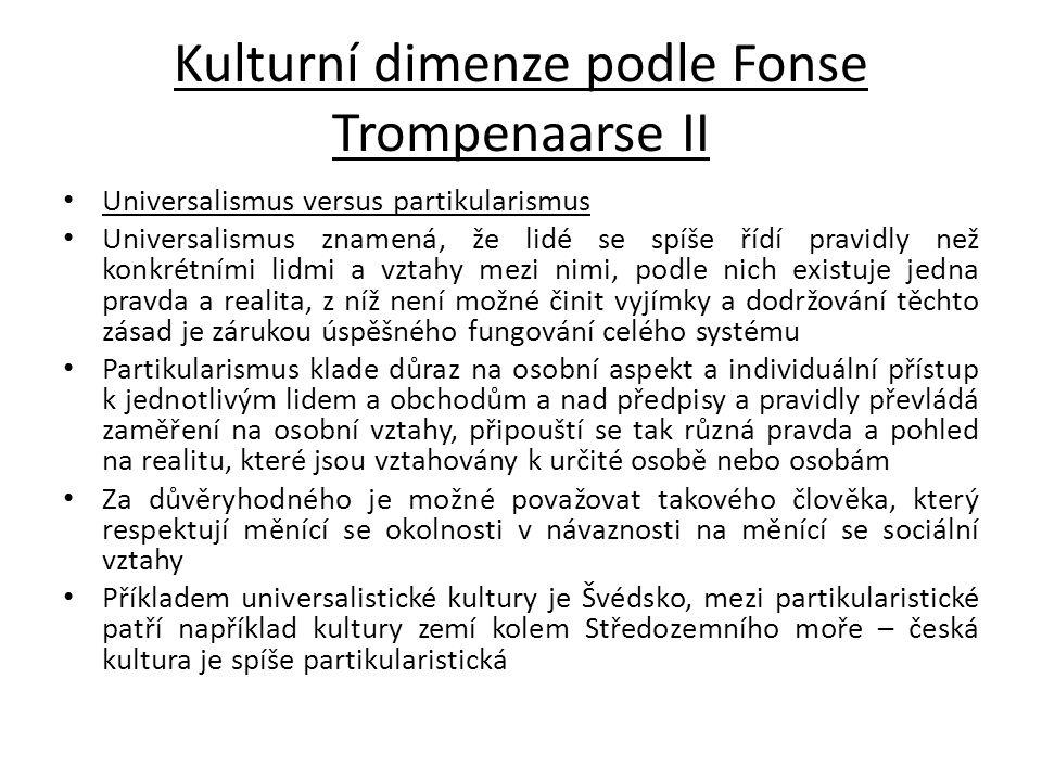Kulturní dimenze podle Fonse Trompenaarse II