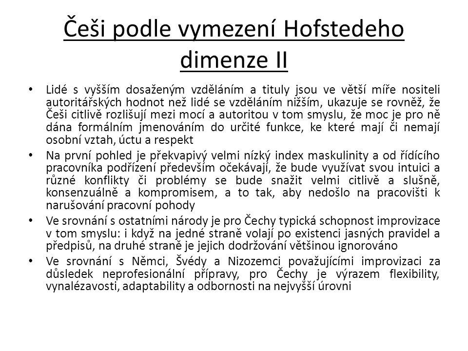 Češi podle vymezení Hofstedeho dimenze II