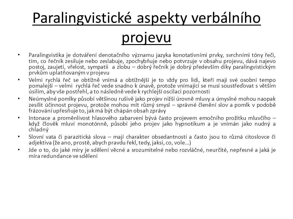 Paralingvistické aspekty verbálního projevu