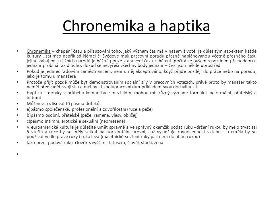 Chronemika a haptika