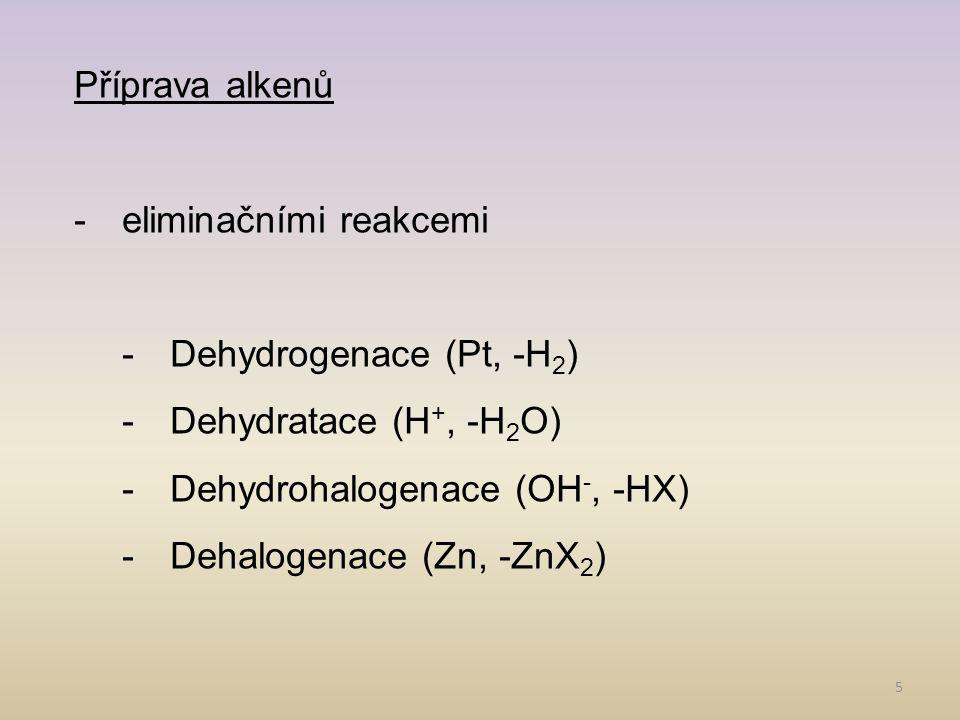 Příprava alkenů eliminačními reakcemi. Dehydrogenace (Pt, -H2) Dehydratace (H+, -H2O) Dehydrohalogenace (OH-, -HX)