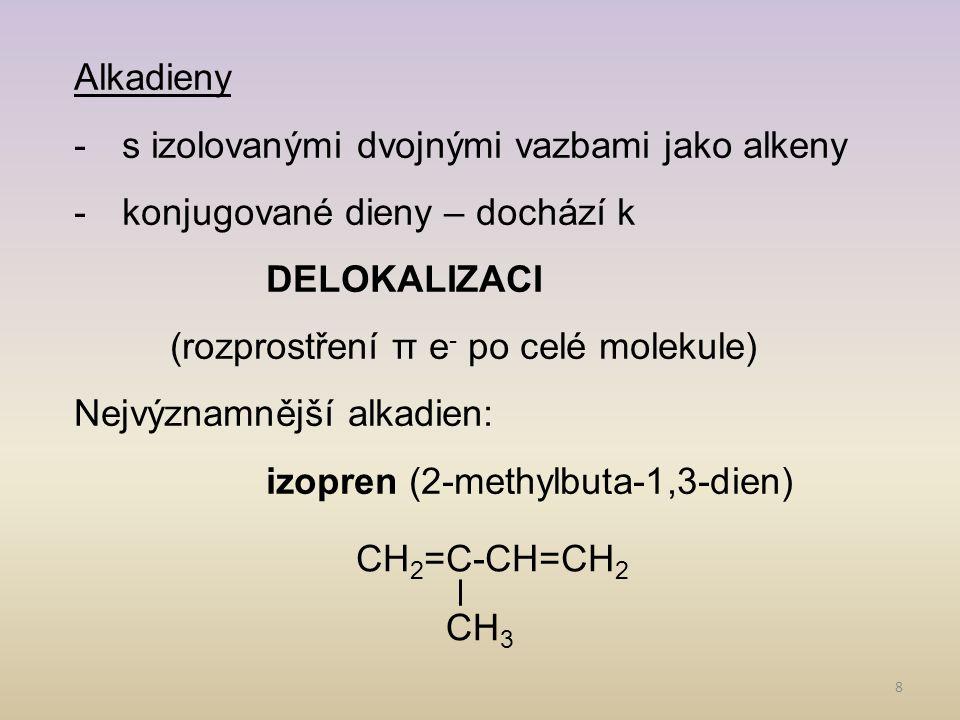 Alkadieny s izolovanými dvojnými vazbami jako alkeny. konjugované dieny – dochází k DELOKALIZACI.