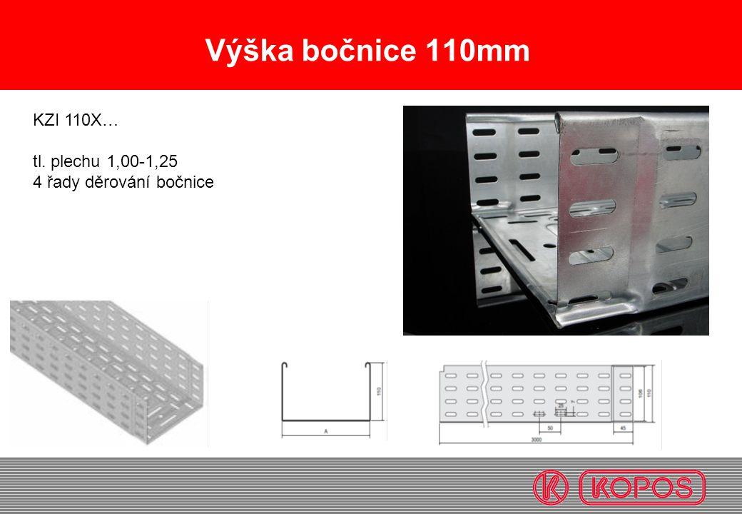 Výška bočnice 110mm KZI 110X… tl. plechu 1,00-1,25