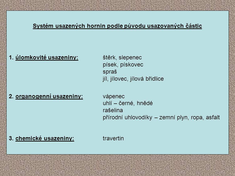 Systém usazených hornin podle původu usazovaných částic