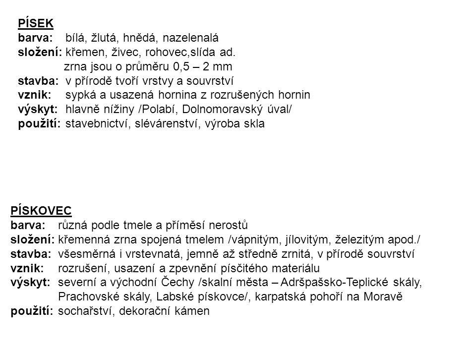 PÍSEK barva: bílá, žlutá, hnědá, nazelenalá. složení: křemen, živec, rohovec,slída ad. zrna jsou o průměru 0,5 – 2 mm.