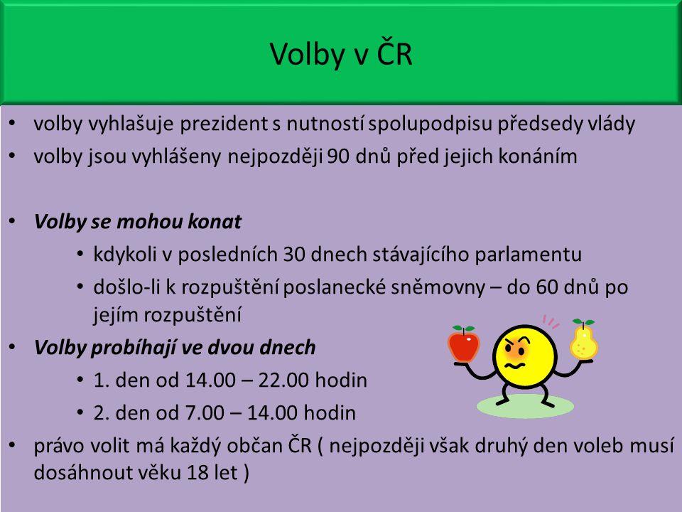 Volby v ČR volby vyhlašuje prezident s nutností spolupodpisu předsedy vlády. volby jsou vyhlášeny nejpozději 90 dnů před jejich konáním.