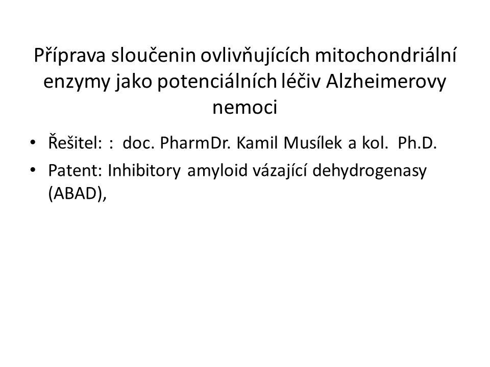 Příprava sloučenin ovlivňujících mitochondriální enzymy jako potenciálních léčiv Alzheimerovy nemoci