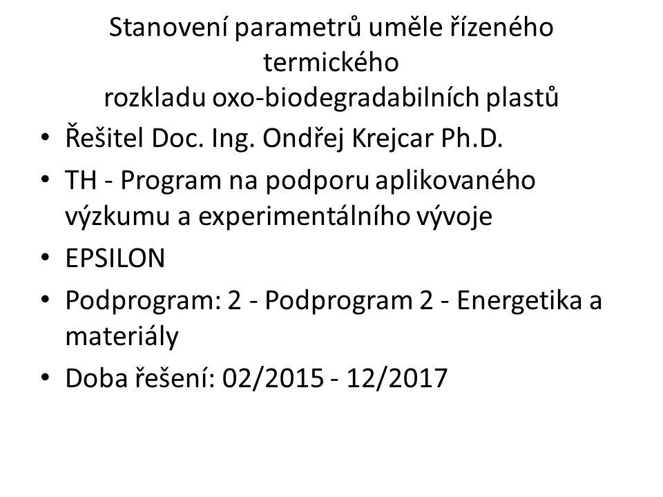 Stanovení parametrů uměle řízeného termického rozkladu oxo-biodegradabilních plastů