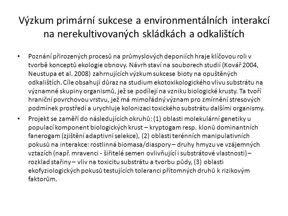 Výzkum primární sukcese a environmentálních interakcí na nerekultivovaných skládkách a odkalištích