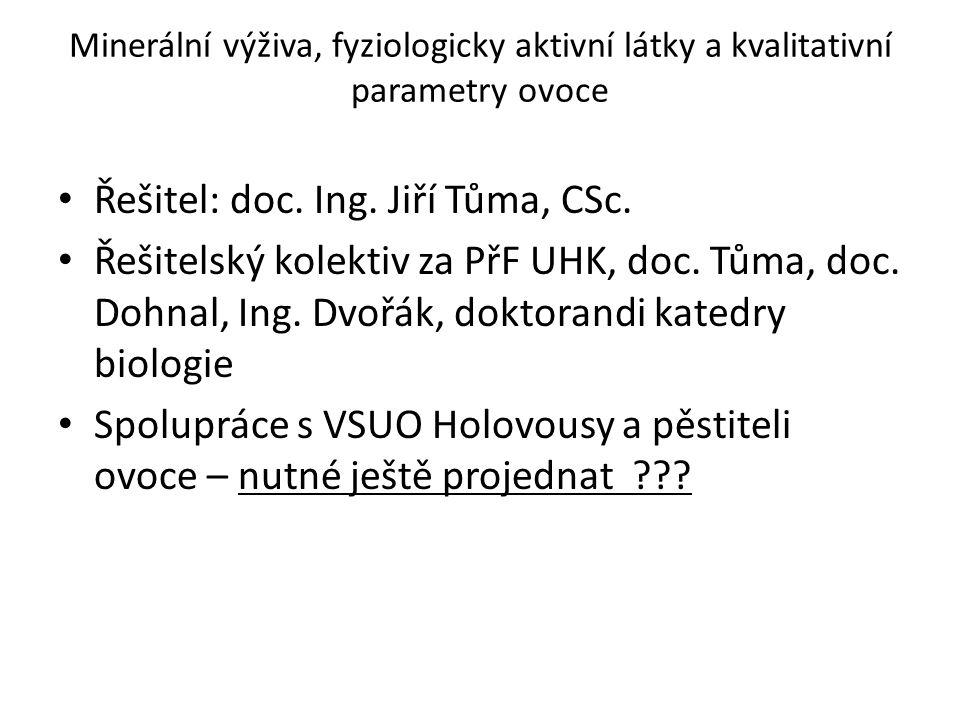 Řešitel: doc. Ing. Jiří Tůma, CSc.