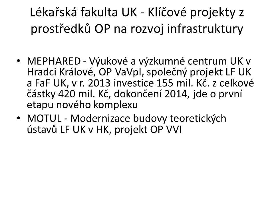 Lékařská fakulta UK - Klíčové projekty z prostředků OP na rozvoj infrastruktury