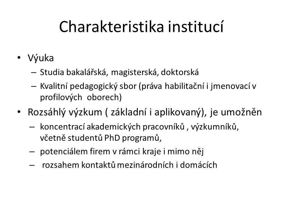 Charakteristika institucí