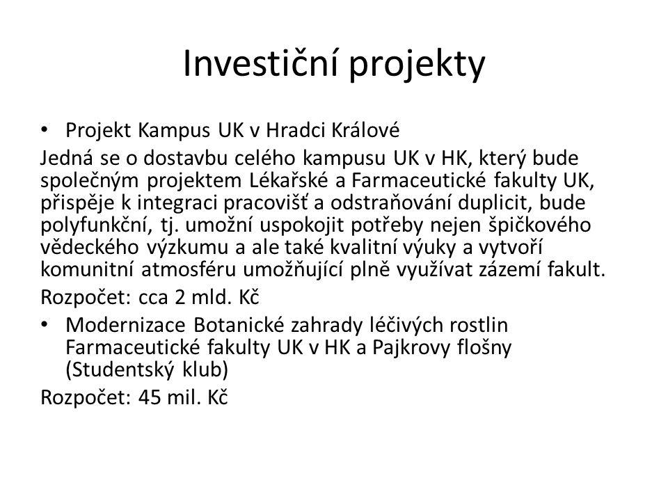 Investiční projekty Projekt Kampus UK v Hradci Králové