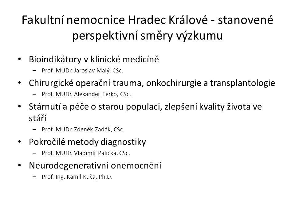 Fakultní nemocnice Hradec Králové - stanovené perspektivní směry výzkumu
