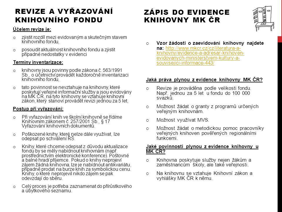 Revize a vyřazování knihovního fondu Zápis do evidence knihovny MK ČR