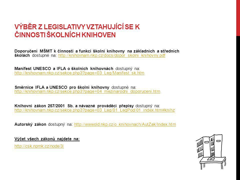 Výběr z legislativy vztahující se k činnosti školních knihoven