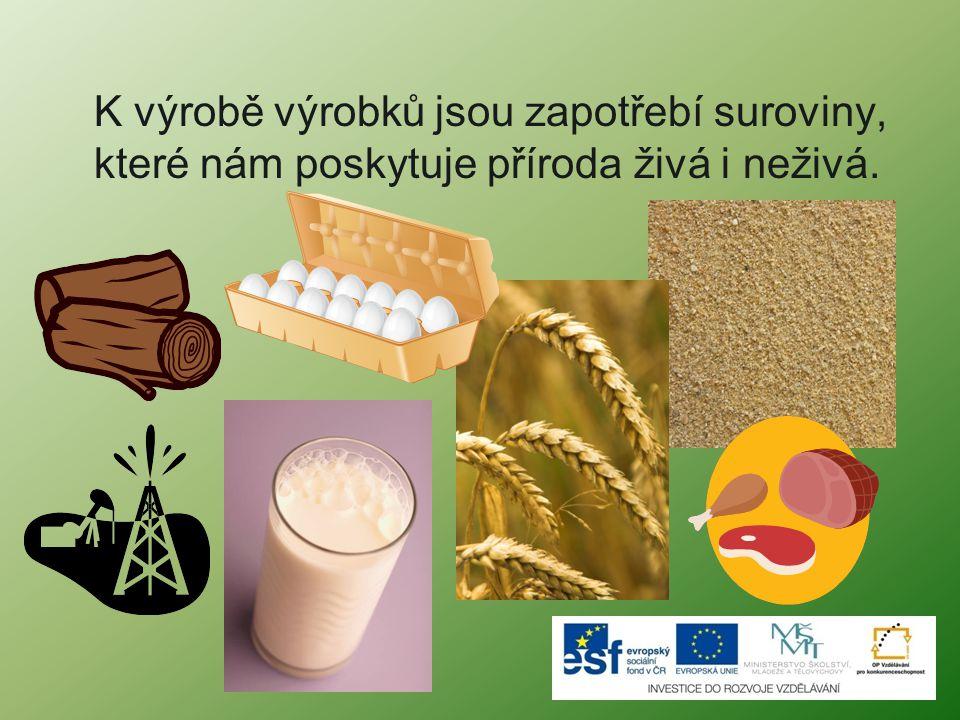 K výrobě výrobků jsou zapotřebí suroviny, které nám poskytuje příroda živá i neživá.