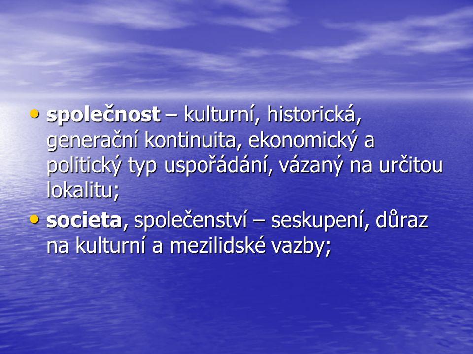 společnost – kulturní, historická, generační kontinuita, ekonomický a politický typ uspořádání, vázaný na určitou lokalitu;