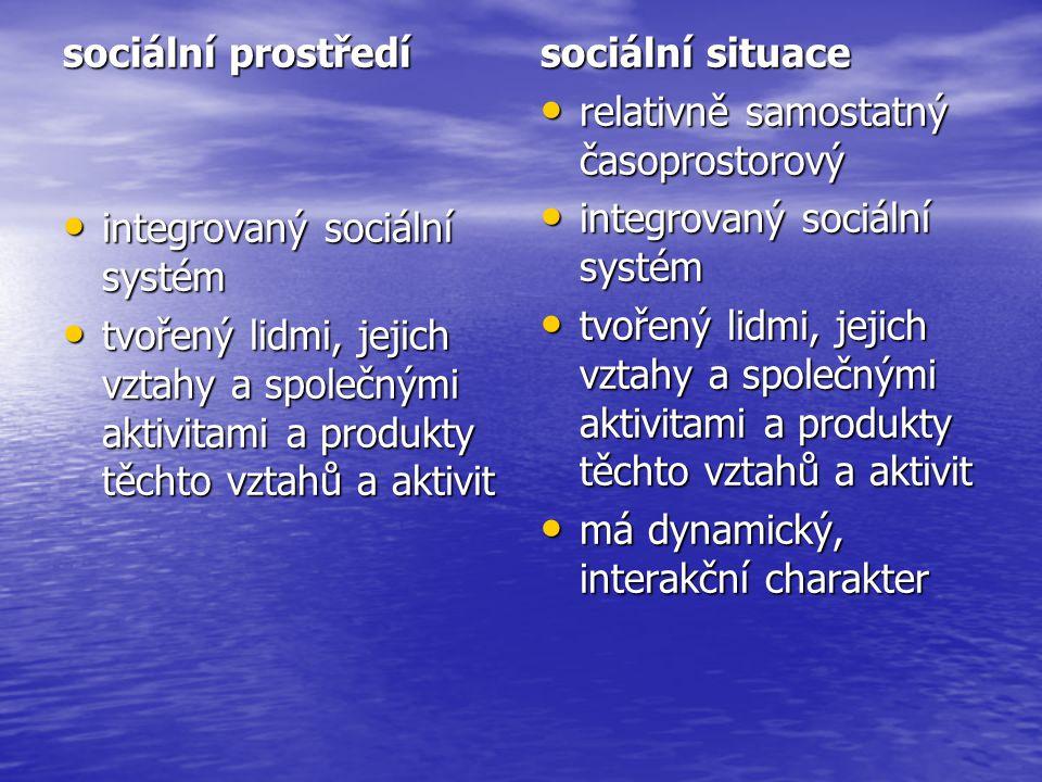 sociální prostředí integrovaný sociální systém. tvořený lidmi, jejich vztahy a společnými aktivitami a produkty těchto vztahů a aktivit.