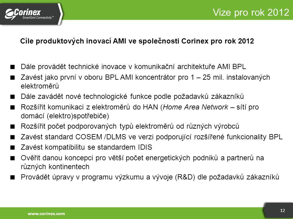 Vize pro rok 2012 Cíle produktových inovací AMI ve společnosti Corinex pro rok 2012.